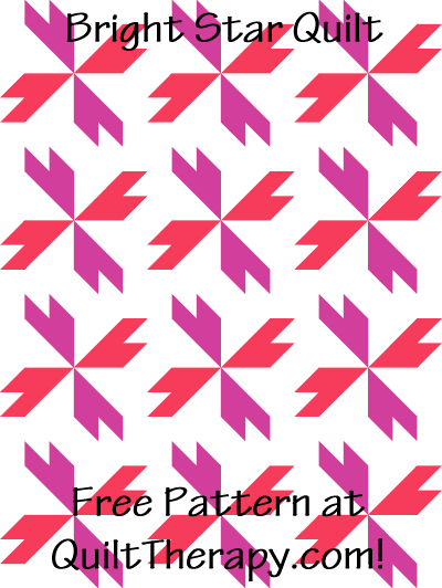"""Bright Star Quilt Free Pattern for a 36"""" x 48"""" quilt at QuiltTherapy.com!"""