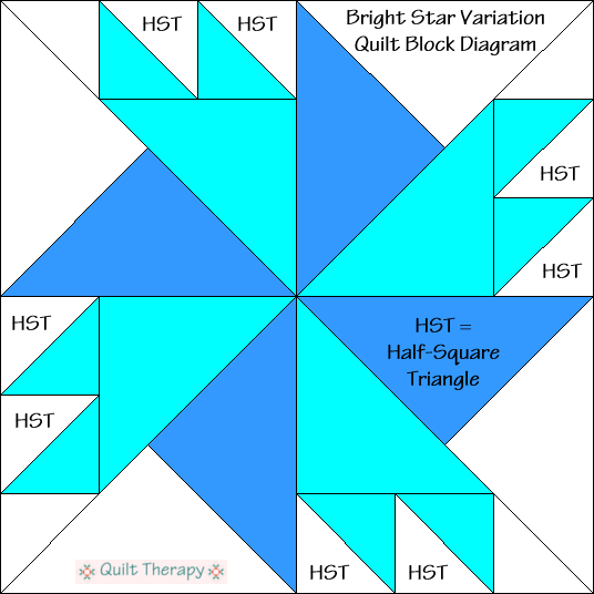 """Bright Star Variation Quilt Block Diagram Free Pattern for 12"""" finished quilt block at QuiltTherapy.com!"""