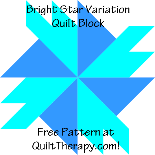 """Bright Star Variation Quilt Block Free Pattern for a 12"""" quilt block at QuiltTherapy.com!"""
