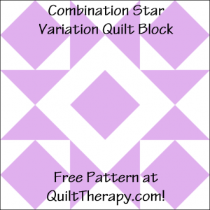"""Combination Star Variation Quilt Block Free Pattern for a 12"""" quilt block at QuiltTherapy.com!"""