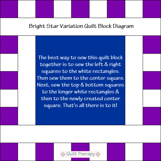 "Dewey Quilt Block Diagram Free Pattern for 12"" finished quilt block at QuiltTherapy.com!"