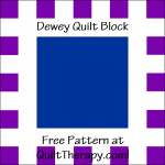 """Dewey Quilt Block Free Pattern for a 12"""" quilt block at QuiltTherapy.com!"""