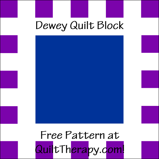 "Dewey Quilt Block Free Pattern for a 12"" quilt block at QuiltTherapy.com!"