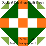 "Ducks & Ducklings Quilt Block Free Pattern for a 12"" quilt block at QuiltTherapy.com!"