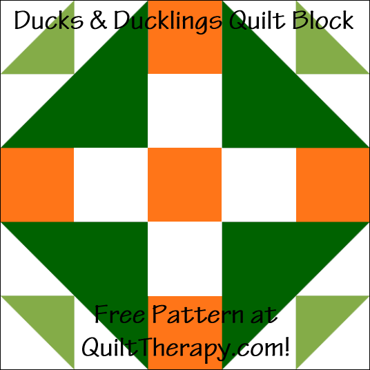 """Ducks & Ducklings Quilt Block Free Pattern for a 12"""" quilt block at QuiltTherapy.com!"""