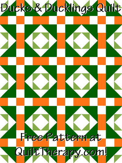 """Ducks & Ducklings Quilt Free Pattern for a 36"""" x 48"""" quilt at QuiltTherapy.com!"""