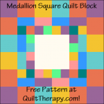 """Medallion Square Quilt Block Free Pattern for a 12"""" quilt block at QuiltTherapy.com!"""
