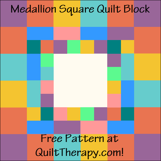 "Medallion Square Quilt Block Free Pattern for a 12"" quilt block at QuiltTherapy.com!"