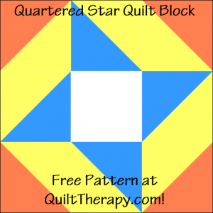 """Quartered Star Quilt Block Free Pattern for a 12"""" quilt block at QuiltTherapy.com!"""