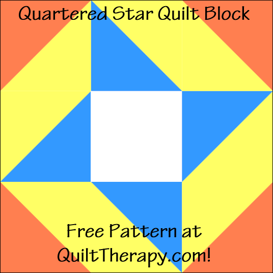 "Quartered Star Quilt Block Free Pattern for a 12"" quilt block at QuiltTherapy.com!"