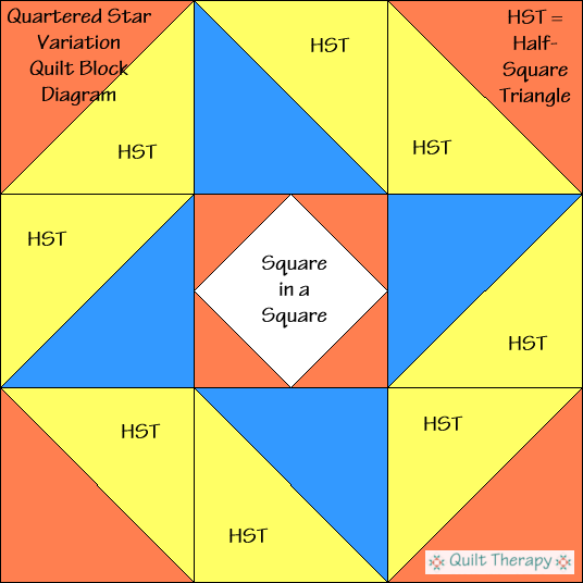 "Quartered Star Variation Quilt Block Diagram Free Pattern for 12"" finished quilt block at QuiltTherapy.com!"