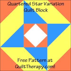 """Quartered Star Variation Quilt Block Free Pattern for a 12"""" quilt block at QuiltTherapy.com!"""