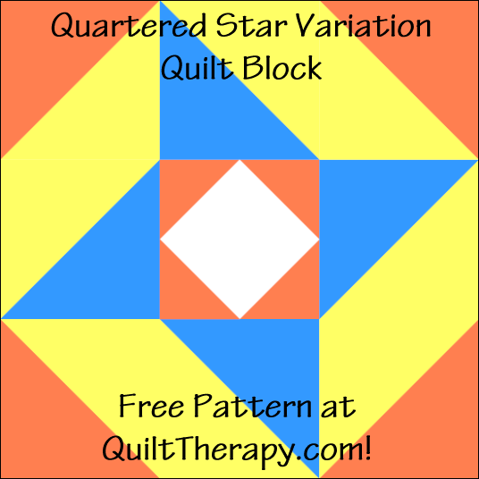 "Quartered Star Variation Quilt Block Free Pattern for a 12"" quilt block at QuiltTherapy.com!"