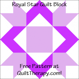 """Royal Star Quilt Block Free Pattern for a 12"""" quilt block at QuiltTherapy.com!"""
