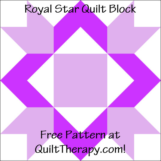 "Royal Star Quilt Block Free Pattern for a 12"" quilt block at QuiltTherapy.com!"