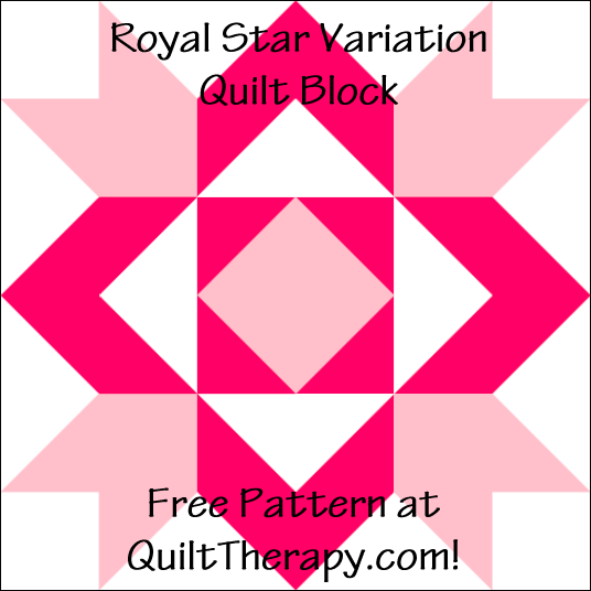 "Royal Star Variation Quilt Block Diagram Free Pattern for 12"" finished quilt block at QuiltTherapy.com!"