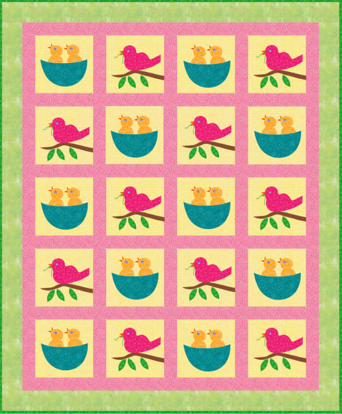 """Spring Arrival Quilt"" a free pattern, that Quilt Dash members can earn, if they finish the April 2020 Quilt Dash! Designed by Phyllis Dobbs!"
