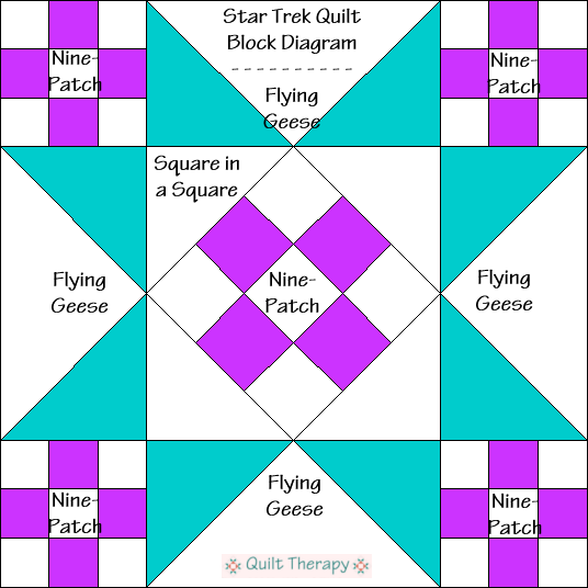 """Star Trek Quilt Block Diagram Free Pattern for 12"""" finished quilt block at QuiltTherapy.com!"""