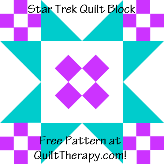 """Star Trek Quilt Block Free Pattern for a 12"""" quilt block at QuiltTherapy.com!"""