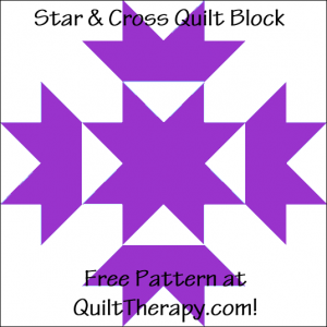 """Star & Cross Quilt Block Free Pattern for a 12"""" quilt block at QuiltTherapy.com!"""