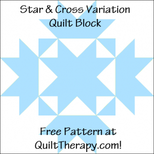 """Star & Cross Variation Quilt Block Free Pattern for a 12"""" quilt block at QuiltTherapy.com!"""
