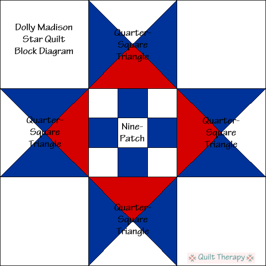 "Dolly Madison's Star Quilt Block Diagram Free Pattern for 12"" finished quilt block at QuiltTherapy.com!"