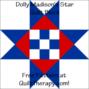 """Dolly Madison's Star Quilt Block Free Pattern for a 12"""" quilt block at QuiltTherapy.com!"""