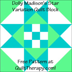 """Dolly Madison's Star Variation Quilt Block Free Pattern for a 12"""" quilt block at QuiltTherapy.com!"""