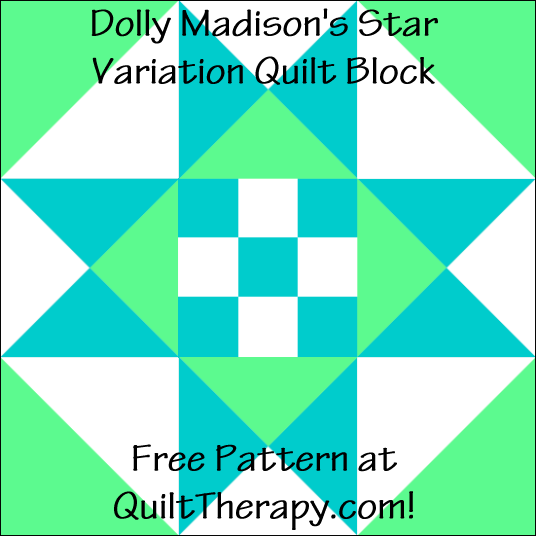 "Dolly Madison's Star Variation Quilt Block Free Pattern for a 12"" quilt block at QuiltTherapy.com!"