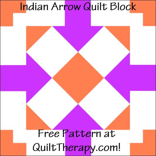 "Indian Arrow Quilt Block Free Pattern for a 12"" quilt block at QuiltTherapy.com!"