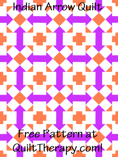 "Indian Arrow Quilt Block Free Pattern for a 36"" x 48"" quilt at QuiltTherapy.com!"