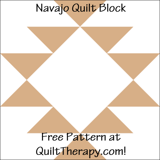 "Navajo Quilt Block Free Pattern for a 12"" quilt block at QuiltTherapy.com!"