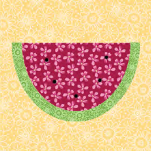 "Watermelon Quilt Block #2 a Free Pattern for a 10"" quilt block at QuiltDash.com!"
