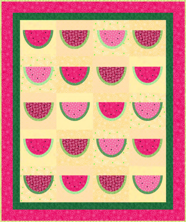 """Summertime with Watermelon"" a Free Quilt Pattern designed by Phyllis Dobbs for the June 2020 Quilt Dash"
