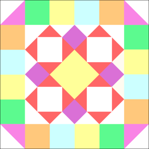 """Calico Mosaic"" is the Quilt Block that's the Main Focus of the ""Fanciful & Fun,"" a Free Quilt Pattern for Members who Complete the Quilt Dash, in September 2020! Designed by TK Harrison, Owner of Quilt Therapy & Co-Owner of Quilt Dash!"