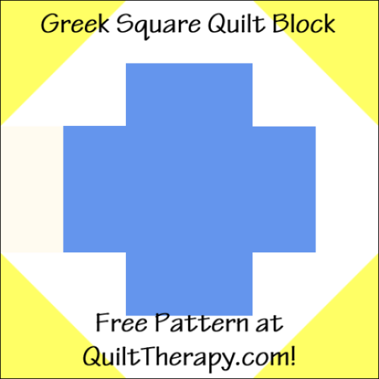 "Greek Square Quilt Block Free Pattern for a 12"" quilt block at QuiltTherapy.com!"