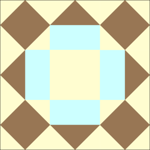 Chocolate Cake Quilt Block Frosted with Blue Frosting