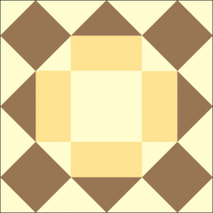Chocolate Cake Quilt Block Frosted with Yellow Frosting