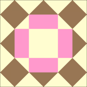 Chocolate Cake Quilt Block Frosted with Pink Frosting