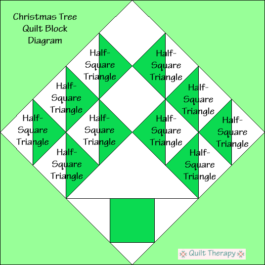 """Christmas Tree Quilt Block Diagram Free Pattern for 12"""" finished quilt block at QuiltTherapy.com!"""