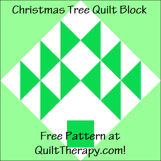 """Christmas Tree Quilt Block Free Pattern for a 12"""" quilt block at QuiltTherapy.com!"""