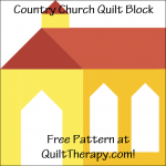 """Country Church Quilt Block Free Pattern for a 12"""" quilt block at QuiltTherapy.com!"""