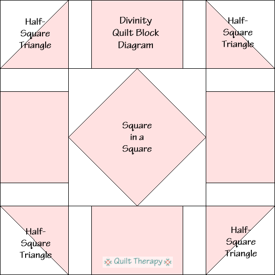 """Divinity Quilt Block Diagram Free Pattern for 12"""" finished quilt block at QuiltTherapy.com!"""