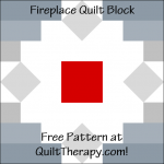 """Fireplace Quilt Block Free Pattern for a 12"""" quilt block at QuiltTherapy.com!"""