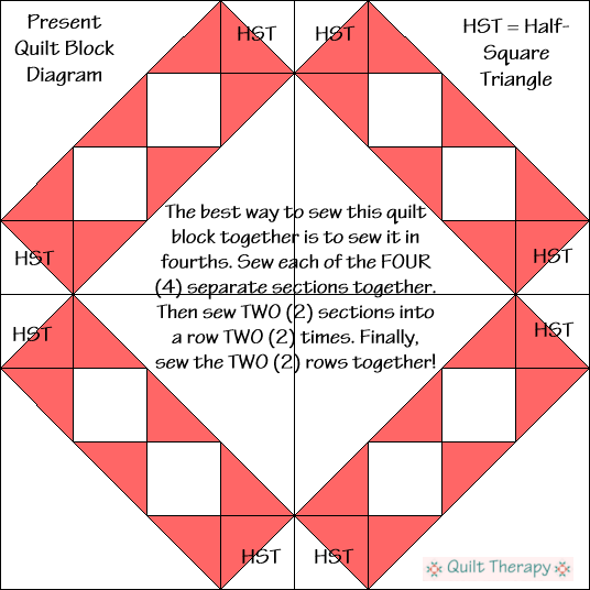 """Present Quilt Block Diagram Free Pattern for 12"""" finished quilt block at QuiltTherapy.com!"""
