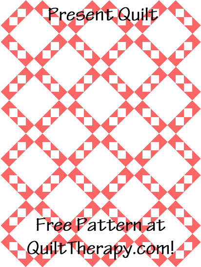 """Present Quilt Free Pattern for a 36"""" x 48"""" quilt at QuiltTherapy.com!"""