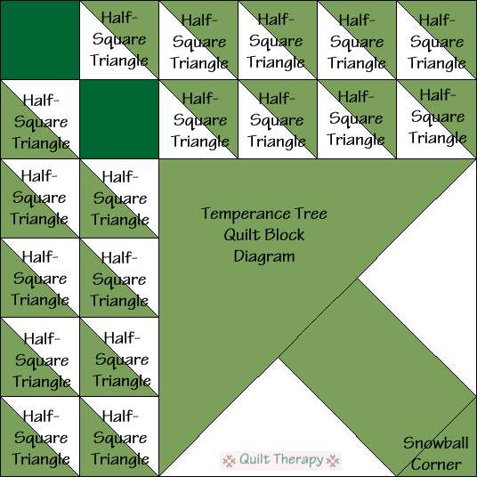 """Temperace Tree Quilt Block Diagram Free Pattern for 12"""" finished quilt block at QuiltTherapy.com!"""