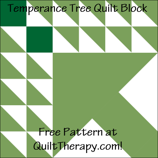 """Temperace Tree Quilt Block Free Pattern for a 12"""" quilt block at QuiltTherapy.com!"""