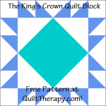 """The King's Crown Quilt Block Free Pattern for a 12"""" quilt block at QuiltTherapy.com!"""