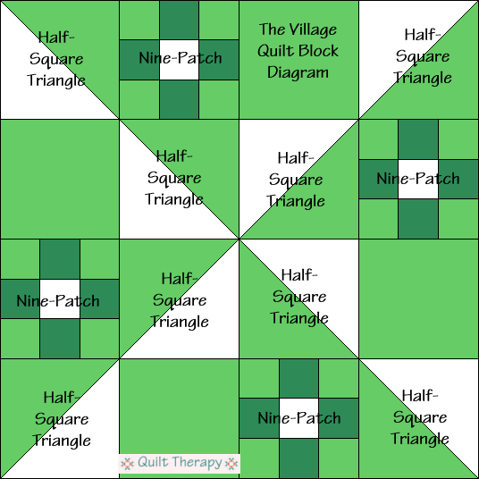 """The Village Quilt Block Diagram Free Pattern for 12"""" finished quilt block at QuiltTherapy.com!"""